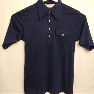 Deadstock 70's Montgomery Wards Polo Shirt Navy L